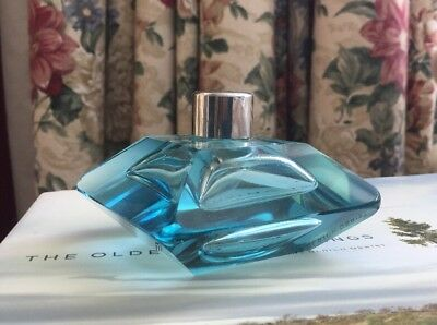 Antique European Ice Blue Heavy Cut Glass Crystal Atomizer Perfume Bottle No Top