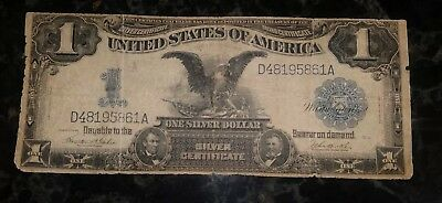 1899 Large Circulated One Dollar $1 Black Eagle Silver Certificate