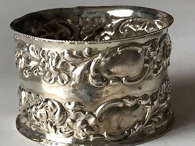 24g Antique English Sterling Silver Highly Repousse Raised Flowers Napkin Ring
