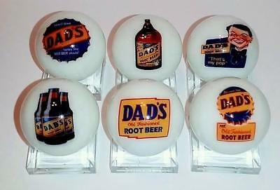 """Set of 6 DAD's Rootbeer 1"""" Glass Logo Marble With Stands"""