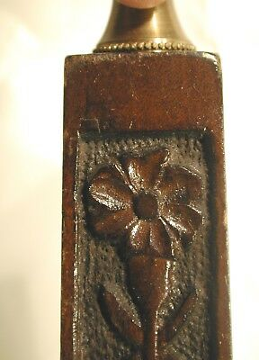 ANTIQUE ARTS & CRAFTS MISSION STYLE CARVED WOOD LAMP SIGNED HELEN WHITE, c 1910