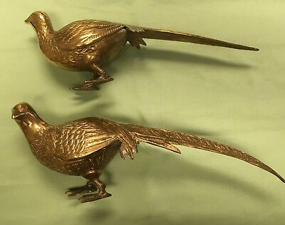 Pair of Vintage Decorative Brass Pheasant for Thanksgiving or Christmas table