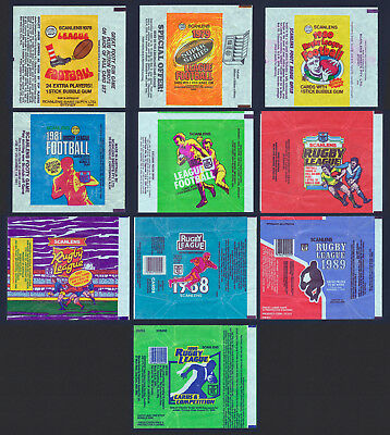 Scanlens 10 Rugby League Wrappers 1978 to 1982 and 1986 to 1990