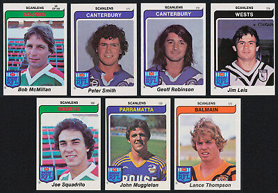 "1980 Scanlens Rugby League Football Set of 7 ""Extra"" Cards"