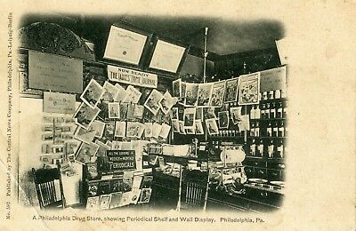 Philadelphia Pa RARE Indoor Drug Store showing Periodical Shelf & Wall Display 1