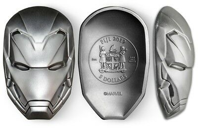 2019 MARVEL IRON MAN MASK COIN - 1st RELEASE - ICON SERIES FIJI 2 OZ 999 SILVER