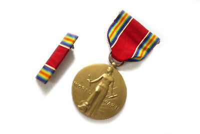 Ww2 Medal & Ribbon Campaign And Service Victory World War 2