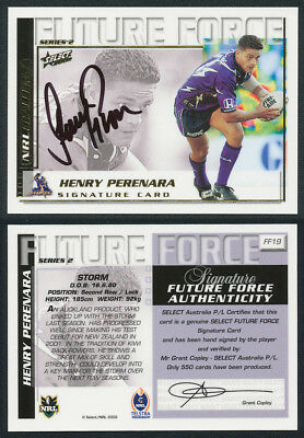 Henry Perenara AUTHENTIC SIGNATURE 2002 Select NRL Future Force FF19