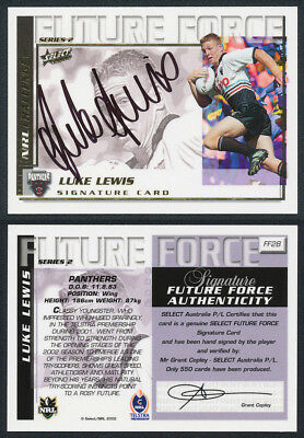 Luke Lewis AUTHENTIC SIGNATURE 2002 Select NRL Future Force FF28