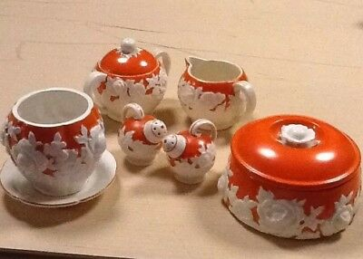 Vintage Orange/Cream Flower Moriyama Mori Machi Pottery Serving Accessory Pieces