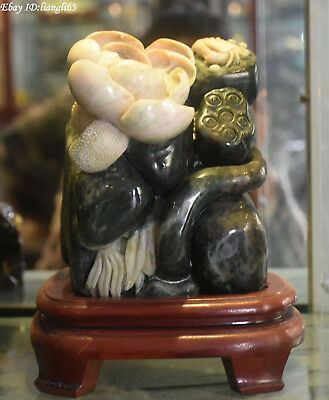 "9"" China 100% Natural Dushan Jade Carving Lotus Flower Crab Crabs Animal Statue"