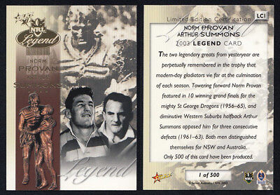 Norm Provan Arthur Summons 2003 Select NRL Legend Card LC1 1 of 500