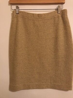 St.john Collection By Marie Grey Straw Beige Shimmer Skirt Size 6