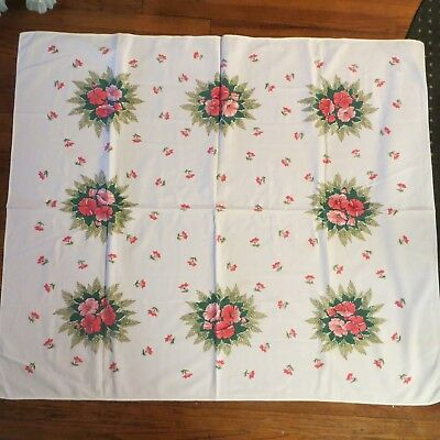 Vintage Cotton Tablecloth Printed Red Coral Pink Green Leaf Flowers 48x44""