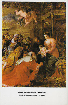 Kings College Chapel Cambridge Adoration of the Magi Artist Rubens Postcard art