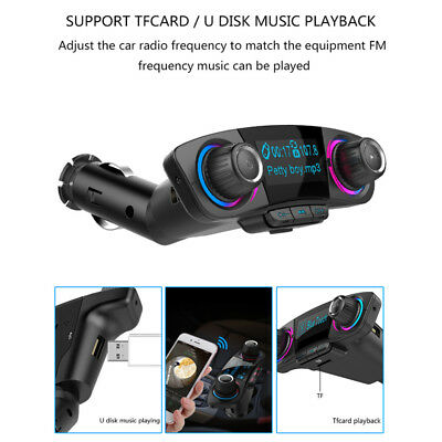 Bluetooth Handsfree Auto Car FM Transmitter Modulator Aux Audio USB Music Player