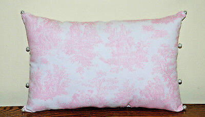 Pillow Oblong Pink-White Jamestown Country Life Toile Cotton Handmade Pearl Trim