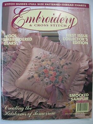 Embroidery & Cross Stitch Magazine First Issue Vol 1 # 1 Wool Bear Pansy Tote Ba