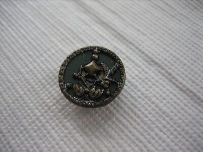"Vintage Small 9/16ths"" Plant Life? Metal Button - Blue/Green Background - M93"