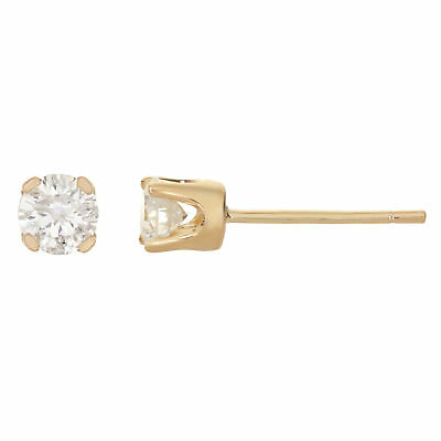 .20 cttw Round White Diamond 14K Yellow Gold Stud Earrings