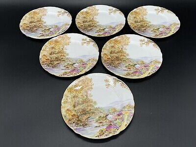 Shelley Heather Dessert Plates Set of 6 Bone China England 6""