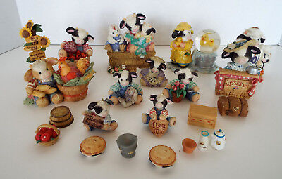 HUGE LOT MARY'S MOO MOOS Figurines Enesco 1993-2000 Limited Edition Cows Country