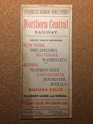 PRR Pennsylvania Railroad, Northern Central Railroad, Timetable, 1888