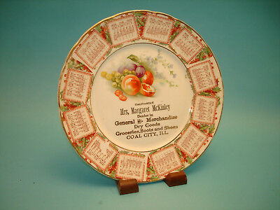 1909 Coal City ILL Calendar Plate Mrs. Margaret McKinley General Merchandise