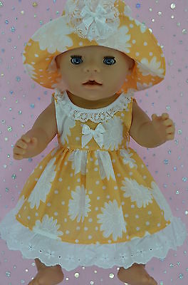"""Play n Wear Doll Clothes To Fit 17"""" Baby Born  ORANGE/WHITE FLOWER DRESS~HAT"""