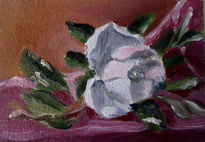 "Magnolia Blossom Flower Original ACEO Art oil Painting 2.5x3.5"" by Artist MK"