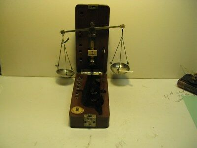 Antique Gold/Gem Jeweler Pocket Balance Scale, CompleteWith Fitted Wooden Case