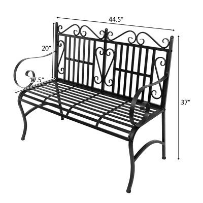 "Outdoor 44"" Moden Patio Porch Deck Cast Iron Garden Bench Chair Seat"