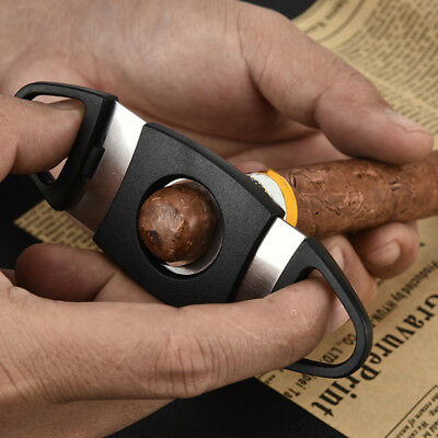 Double Blades Guillotine Cigar Cutter Pocket Knife Scissors Stainless Steel Hot
