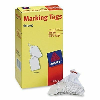 """Avery 12204 White Strung Marking Tags for Storage or Sales 1-3/4""""  x  1-3/32"""""""