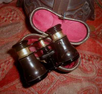 Lemaire Antique French Opera Glasses PARIS Leather, Brass, & Silk Case Fabt NICE