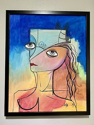 """PAINTING ORIGINAL OIL ON CANVAS (FRAME INCLUDED) CUBAN ART  16""""X20"""" By Lisa."""