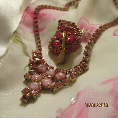 Vintage 1950's Pink Crystal Rhinestone Gold-tone Necklace Brooch Jewelry Lot 2pc