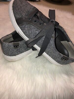 6be872ca4e1 tory burch tennis shoes EUC Womens Size 7.5 Heather Gray Fabric With Ribbon  Lace