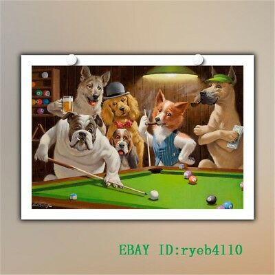 Dogs Playing Pool HD Canvas Print Home Decor Painting Wall Art 12x18 inch