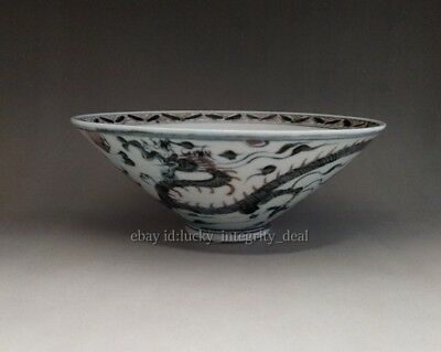 Large Chinese Ming Blue and White red Glaze Porcelain Dragon Bowl