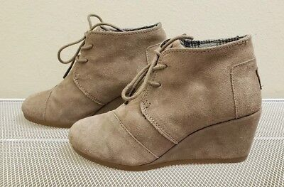 e13780f23b8 TOMS DEIA ANKLE Boot Booties Women s Size 7.5 M Desert Taupe Suede ...