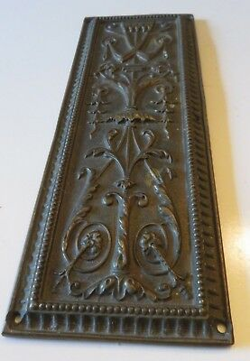 Victorian finger push plate WT & S solid brass ornate design scrolls flourishes