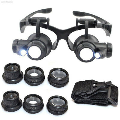 47D2 Watch Repair Magnifier Double Eye Glasses Loupe With LED 8 Lens Black