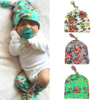 Coming Home Swaddle Newborn Infant Baby Floral Beanie Hat Cotton Knotted Cap
