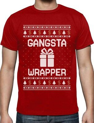 Ugly Christmas Sweater Gangsta Wrapper Funny Gangster Wrappa T-Shirt Humor
