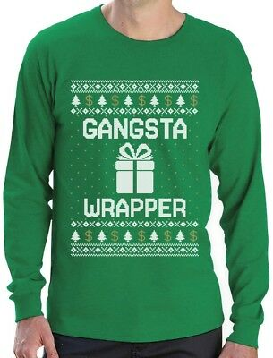Ugly Christmas Sweater Gangsta Wrapper Funny Gangster Wrappa Long Sleeve T-Shirt