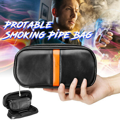 Tobacco Pouch Portable Durable Smoking Pipe Case Bag Holds 2 Pipes Soft Leather