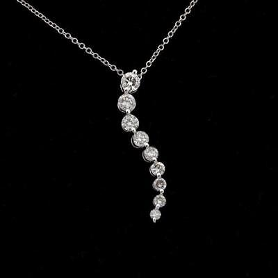 "1.00 Ct Round Diamond Journey Pendant 18"" Necklace 14K White Gold GP For Womens"