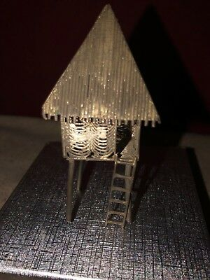 Unusual Miniature Oriental Vintage or Old Metal Filigree Tree House
