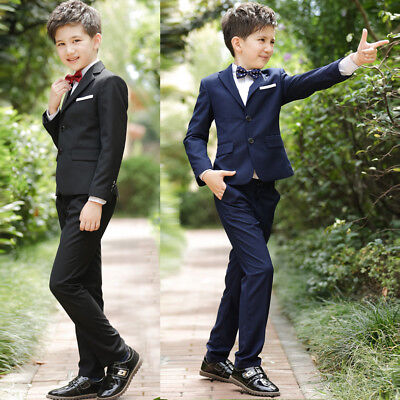 4Pcs Kids Page Boys Formal Wedding Dress Suits Casual Tuxedo Jacket Sets Outfits